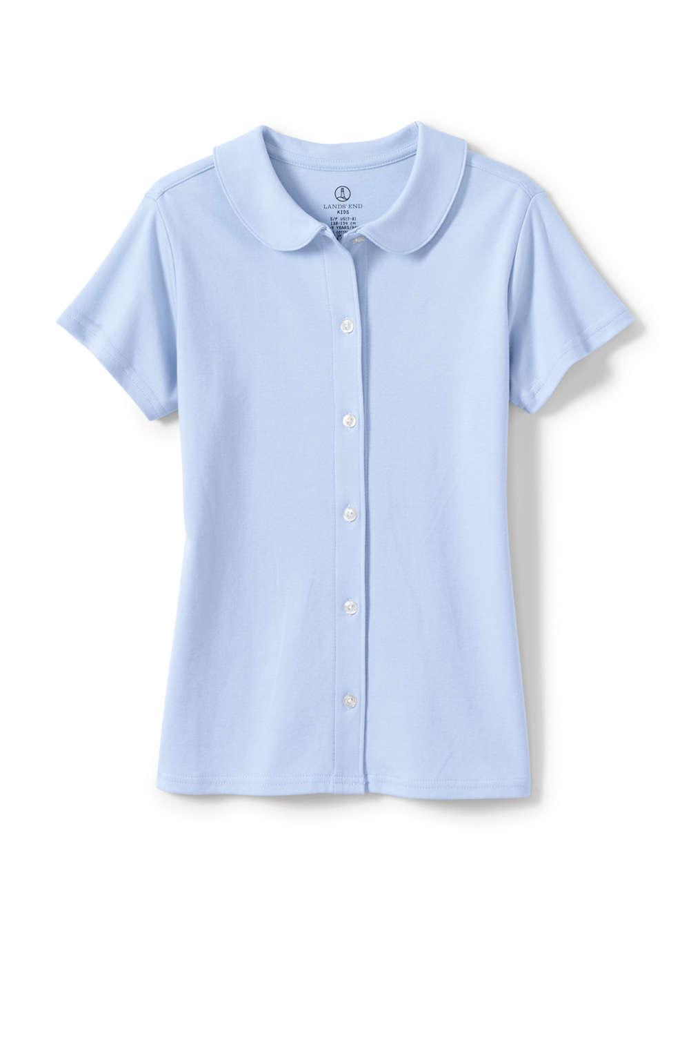 a7205dda3ff7c4 School Uniform Girls Short Sleeve Button Front Peter Pan Collar Knit ...