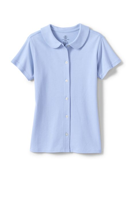 Little Girls Short Sleeve Button Front Peter Pan Collar Knit Shirt