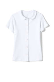 School Uniform Little Girls Short Sleeve Button Front Peter Pan Collar Knit Shirt