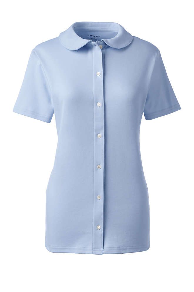 School Uniform Women's Short Sleeve Button Front Peter Pan Collar Knit Shirt, Front