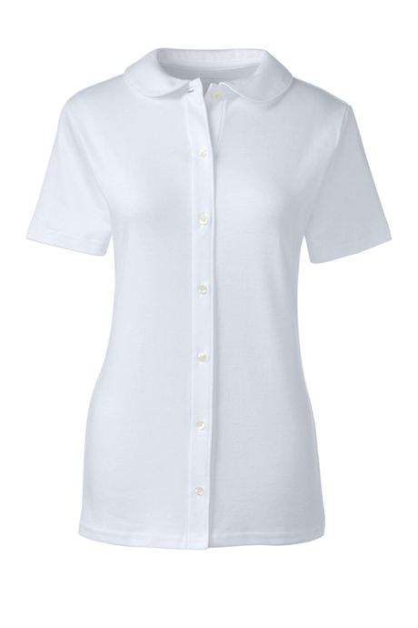 School Uniform Women's Short Sleeve Button Front Peter Pan Collar Knit Shirt