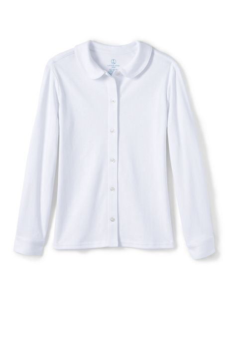 School Uniform Girls Long Sleeve Button Front Peter Pan Collar Knit Shirt