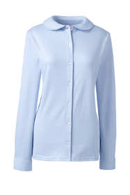 School Uniform Women's Long Sleeve Button Front Peter Pan Collar Knit Shirt