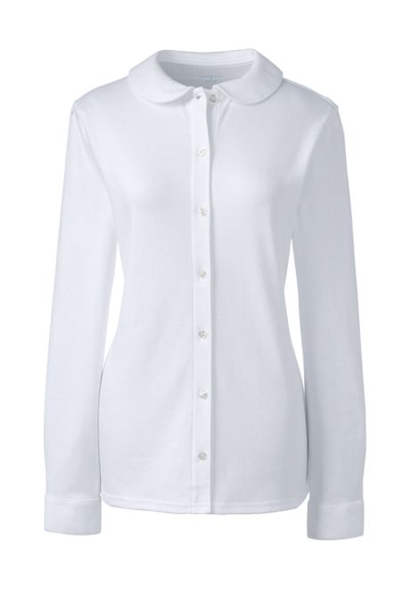 Women's Long Sleeve Button Front Peter Pan Collar Knit Shirt