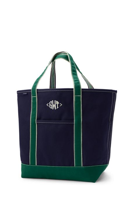 Large Two-Tone Open Top Canvas Tote Bag