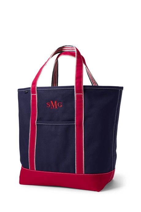 School Uniform Large Two-Tone Open Top Canvas Tote Bag