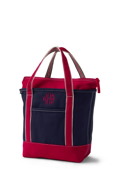 Medium Two-Tone Zip Top Canvas Tote Bag