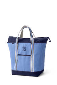 Large Two-Tone Zip Top Canvas Tote Bag
