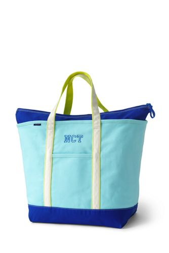 Large Zip Top Coloured Canvas Tote - BLUE Lands End