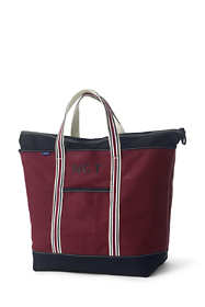 Extra Large Two-Tone Zip Top Canvas Tote Bag
