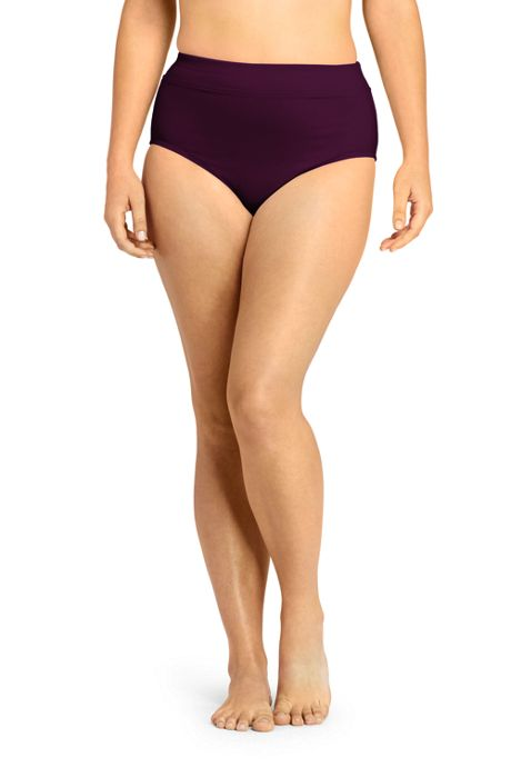 Women's Plus Size Tummy Control High Waisted Bikini Bottoms