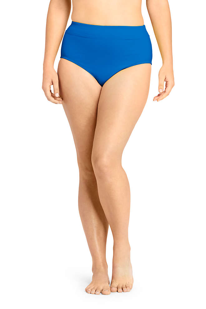 Women's Plus Size Tummy Control High Waisted Bikini Bottoms, Front