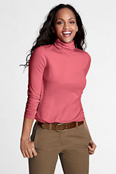 Women's Long Sleeve Solid Fitted Lightweight Cotton Modal Turtleneck
