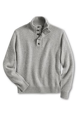 Wool Cotton Button Mock Sweater: Gray Heather