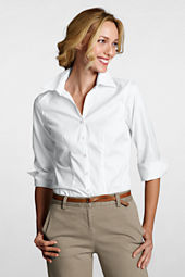 Women's Original 3/4-sleeve No Iron Pinpoint Splitneck Shirt