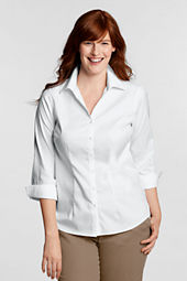 Women's Plus Size 3/4-sleeve No Iron Pinpoint Splitneck Shirt