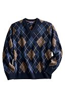 Lambswool Argyle V-neck Sweater: Navy