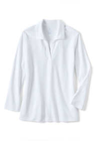 School Uniform Women's Petite 3/4 Sleeve Interlock Johnny Collar
