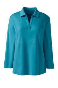 Women's Petite Cotton Polyester 3/4 Sleeve Interlock Johnny Collar