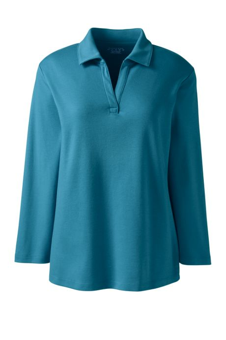 Women's 3/4 Sleeve Interlock Johnny Collar Shirt