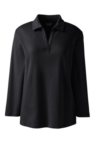 Women's Regular 3/4 Sleeve Interlock Johnny Collar by Lands' End