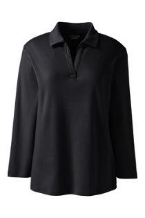 Women's Cotton Polyester Three Quarter Sleeve Interlock Johnny Collar