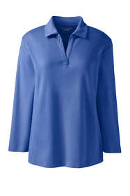 School Uniform Women's Plus Size 3/4 Sleeve Interlock Johnny Collar