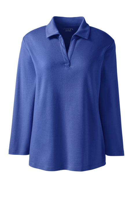School Uniform Women's Plus Size Cotton Polyester 3/4 Sleeve Interlock Johnny Collar