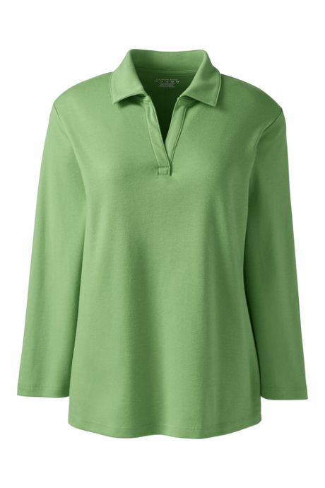 Women's Plus Size 3/4 Sleeve Interlock Johnny Collar