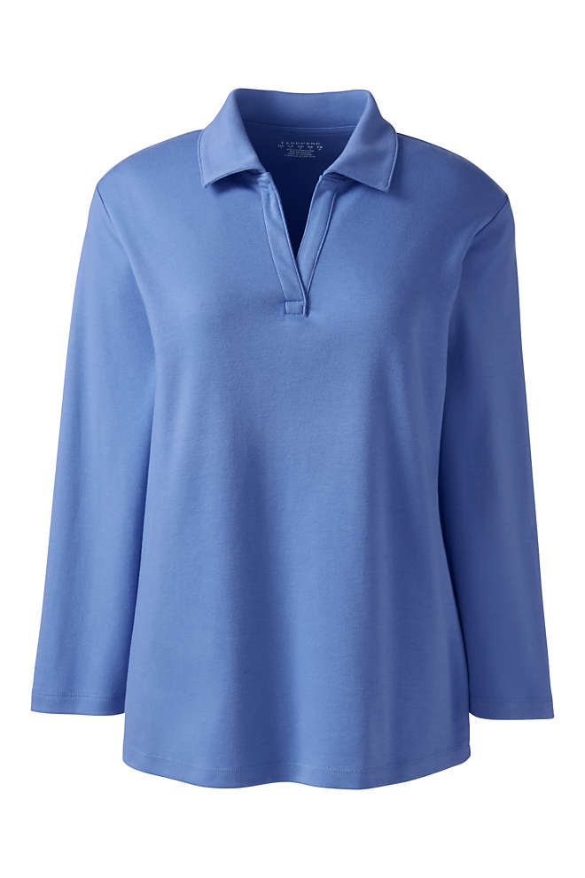 Women's Cotton Polyester 3/4 Sleeve Interlock Johnny Collar, Front