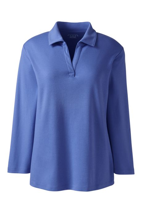 Women's  Cotton Polyester Three Quarter Sleeve Interlock Johnny Collar
