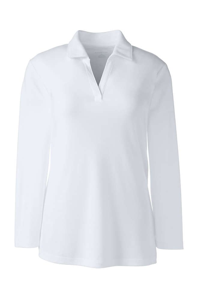 School Uniform Women's Petite Cotton Polyester 3/4 Sleeve Interlock Johnny Collar, Front