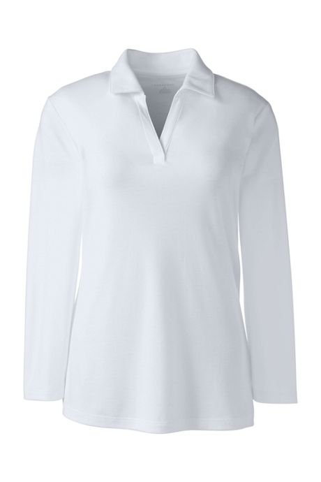 School Uniform Women's Cotton Polyester 3/4 Sleeve Interlock Johnny Collar