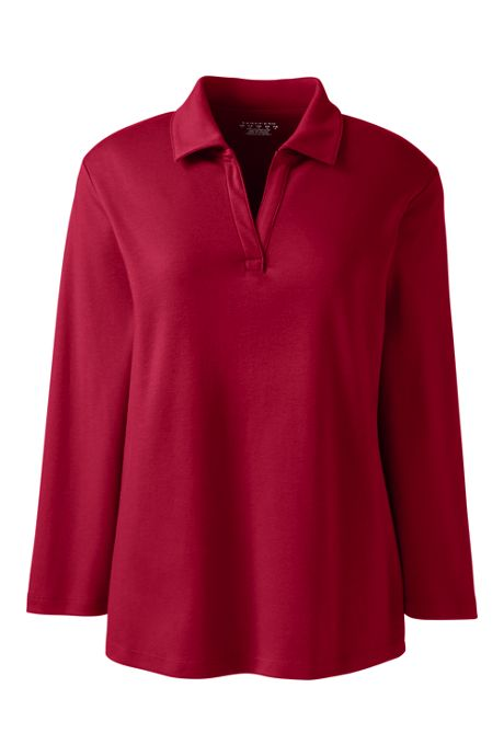 Women's Petite 3/4 Sleeve Interlock Johnny Collar