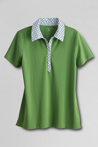 Women%27s+Short+Sleeve+Woven+Collar+Polo+Shirt