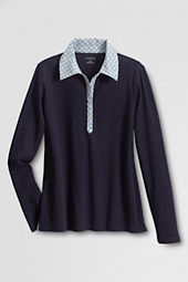 Women's Long Sleeve Woven Collar Polo