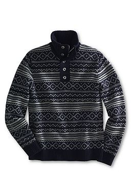 Pattern Wool Cotton Button Mock Sweater: True Navy Fairisle