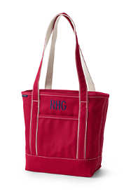 Medium Solid Color Open Top Long Handle Canvas Tote Bag