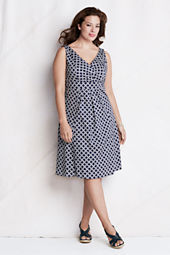 Women's Original Pattern Cotton V-neck Flare Dress
