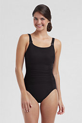 Women's All-over Control Solid Slender Hi-neck Swimsuit