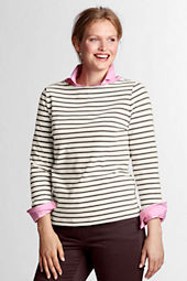 Women's Plus Size 3/4-sleeve Boatneck Sailor Tee