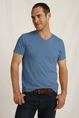 The Heritage V-neck Tee: River Blue