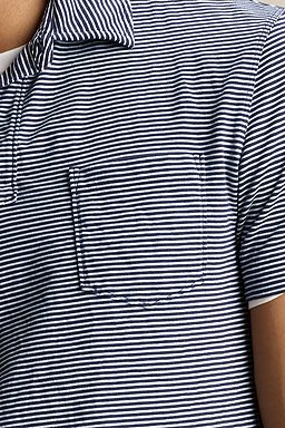 Striped Jersey Polo: True Navy