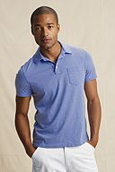 Striped Jersey Polo: True Blue