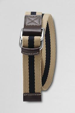Lands' End Stripe Web Belt: Khaki / True Navy Stripe