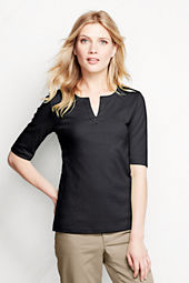 Women's Half Sleeve Splitneck Top