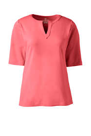 Women's Cotton Polyester Modern Half Sleeve Splitneck