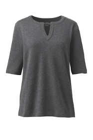 Women's Cotton Polyester Modern Half Sleeve Splitneck