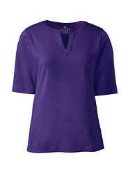 Women's Plus Size Cotton Polyester Modern Half Sleeve Splitneck