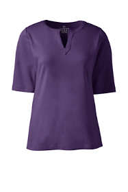 Women's Plus Size Half Sleeve Modern Splitneck